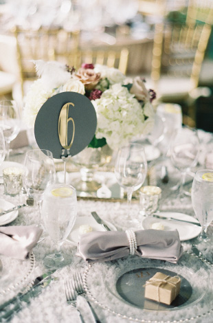 A table setting from an Emily Weddings event