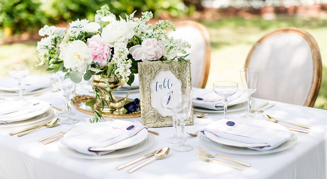 A tablescape from a Emily Weddings' event